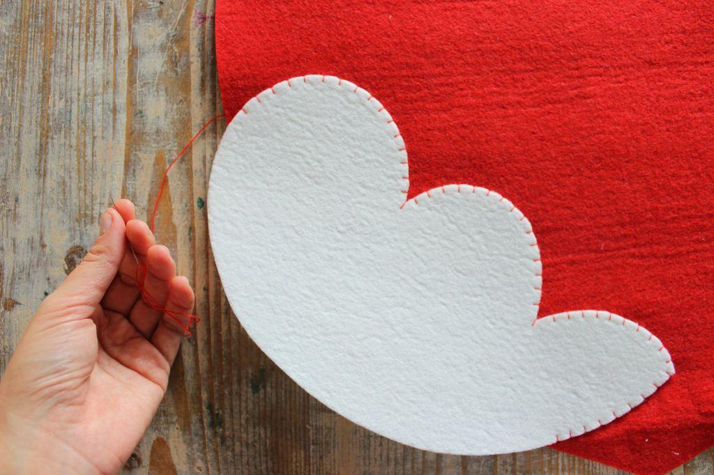 cuore rosso feltro pannolenci cucito a mano fai da te tutorial