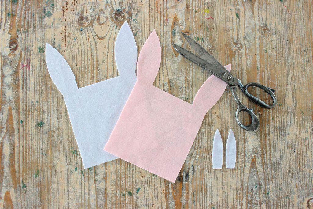 sacchetto a forma di coniglio in pannolnci idea regalo per pasqua